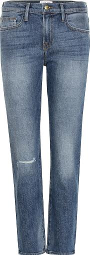 Frame , Le Boy Mid Rise Cropped Jeans