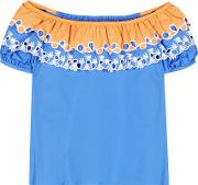 Peter Pilotto , Embroidered Off The Shoulder Cotton Top