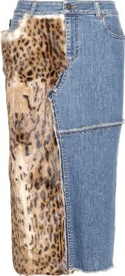 Tom Ford , Fur Trimmed Denim Skirt