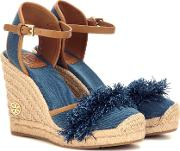 Tory Burch , Shaw 90 Denim Wedge Espadrilles