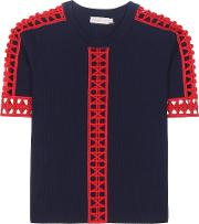 Tory Burch , Rosemary Knitted Cotton Top With Crochet Knit Lace