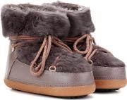 Inuikii , Rabbit Low Fur Lined Leather Boots