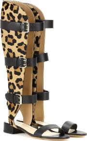 Francesco Russo , Leather And Printed Calf Hair Gladiator Sandals