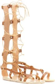 Ancient Greek Sandals , Sofia High Leather Gladiator Sandals