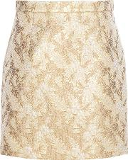 Michael Kors Collection , Metallic Jacquard Wool And Silk Blend Miniskirt