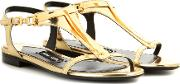 Tom Ford , Embellished Metallic Leather Sandals