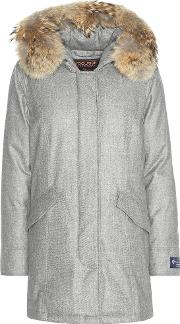 Woolrich , Arctic Fur Trimmed Virgin Wool And Cashmere Parka