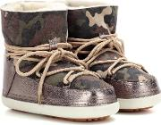 Inuikii , Camouflage Low Fur Lined Suede Boots