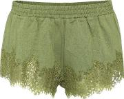 Fenty By Rihanna , Lace Trimmed Cotton Shorts