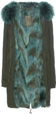 Mr & Mrs Italy , Fur Lined Cotton Parka With Fur Trimmed Hood