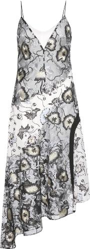 Selfportrait , Nivienne Printed Crepe And Embroidered Tulle Dress