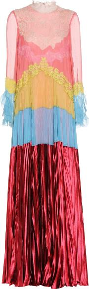 Valentino , Pleated Dress With Lace And Chiffon