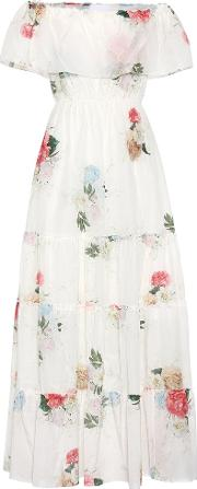 Athena Procopiou , Floral Printed Cotton And Silk Dress
