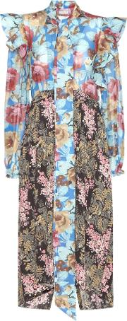 Balenciaga , Pleated Floral Printed Silk Dress