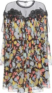 Chloe , Printed Silk Georgette Dress With Lace