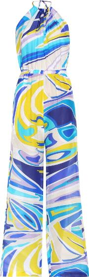 Emilio Pucci Beach , Printed Cotton And Silk Blend Jumpsuit