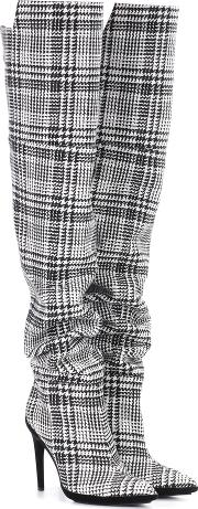 Offwhite , Plaid Over The Knee Boots