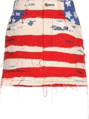 Marc Jacobs , American Flag Embroidered Cotton Miniskirt