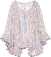 Zimmermann , Meridian Striped Linen And Cotton Top