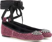 Jimmy Choo , Grace Flat Embellished Leather Ballerinas