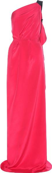 Roland Mouret , Vere One Shoulder Draped Silk Crepe Gown