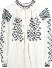 Vanessa Bruno , Embroidered Beaded Cotton Blouse