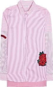 Each X Other , Embroidered Striped Cotton Shirt