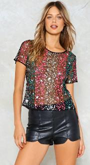Nasty Gal , Video Killed The Radio Star Sequin Top