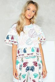 Nasty Gal , Ruffle Large Leaf Beach Blouse