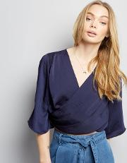 Influence , Navy Wrap Front Cropped Blouse