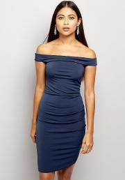 New Look Petite , Petite Navy Bardot Ruched Bodycon Dress