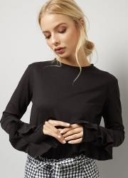 Daisy Street , Black Frill Trim Sleeve Funnel Neck Top