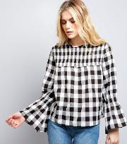 Influence , Black Bell Sleeve Gingham Check Top