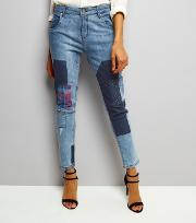 Influence , Blue Patch Work Skinny Jeans