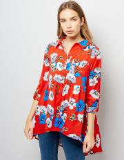 Influence , Red Floral Print Blouse