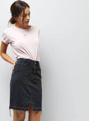 New Look , Black Eyelet Studded Denim Skirt