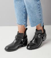 New Look , Black Leather Buckle Cut Out Ankle Boots