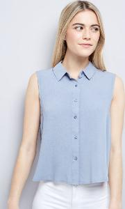 New Look , Blue Cropped Sleeveless Shirt