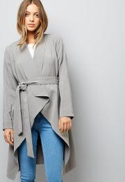 New Look , Grey Waterfall Belted Duster Coat