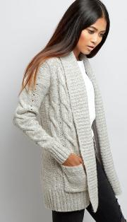 New Look Petite , Petite Grey Cable Knit Cardigan