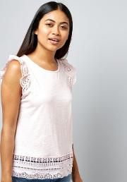 New Look Petite , Petite Pink Cut Out Lace Trim Top