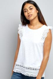 New Look Petite , Petite White Cut Out Lace Trim Top