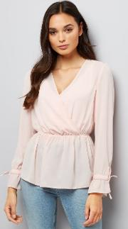New Look , Pink Elasticated Waist Wrap Front Top