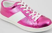 New Look , Pink Metallic Lace Up Trainers