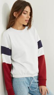 New Look , White Colour Block Sleeve Drawstring Sweater