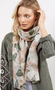 New Look , White Floral And Butterfly Print Longline Scarf