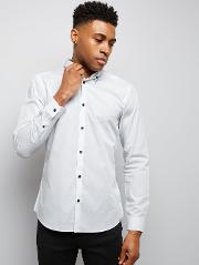New Look , White Stripe Collar Long Sleeve Shirt