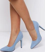 New Look , Wide Fit Blue Suedette Pointed Court Shoes