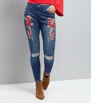 Parisian , Blue Floral Embroidered Ripped Jeans