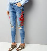 Parisian , Blue Floral Embroidered Side Skinny Jeans